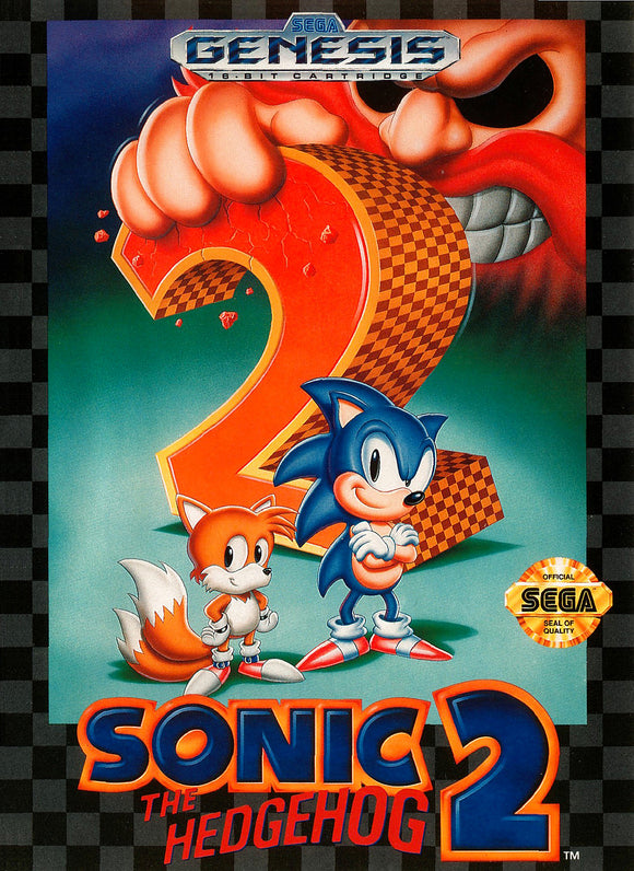 Retro Sonic the Hedgehog 2 Game Poster//Sega Game Poster//Video Game Poster//Vintage Game Reprint