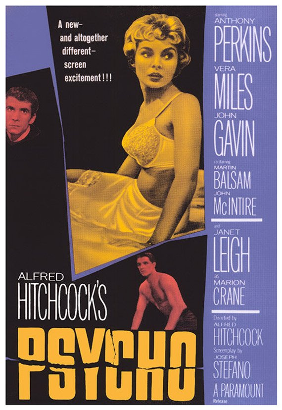 Original Psycho (1960) movie poster reprint
