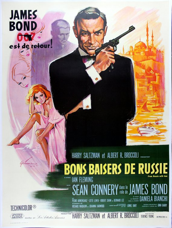 James Bond Poster//Vintage James Bond Movie Poster//From Russia with Love French Release Poster//Movie Poster//Poster Reprint
