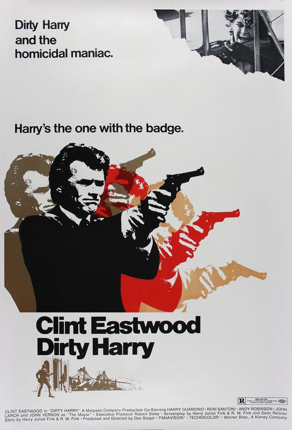 Vintage Dirty Harry Movie Poster// Classic Movie Poster//Movie Poster//Poster Reprint//Home Decor//Wall Decor//Vintage Art