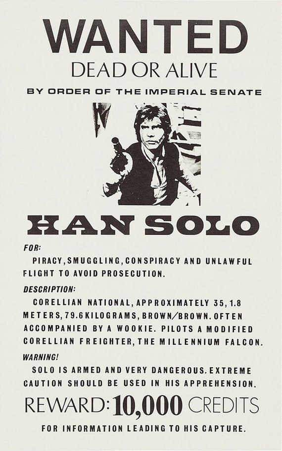 Star Wars Poster//Star Wars Movie Poster//Han Solo Wanted Poster//Movie Poster//Poster Reprint