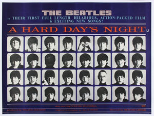 Vintage Beatles Hard Day's Night Movie Poster//Classic Movie Poster/Movie Poster//Poster Reprint//Home Decor//Wall Decor//Vintage Art