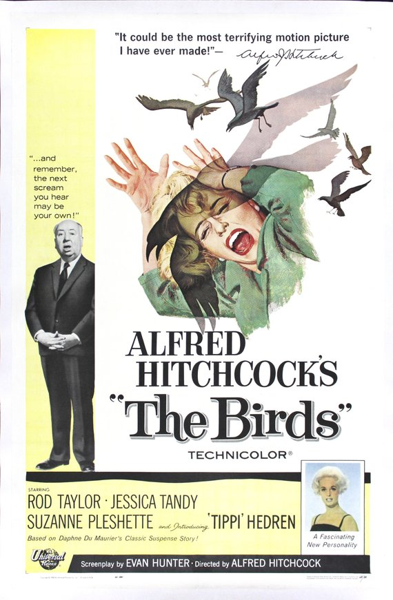 Vintage Alfred Hitchcock's The Birds Movie Poster//Classic Movie Poster/Movie Poster//Poster Reprint//Home Decor//Wall Decor//Vintage Art