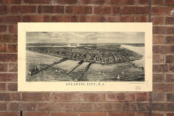Vintage Atlantic City Print, Aerial Atlantic City Photo, Vintage AtlanticCity NJ Pic, Old Atlantic Photo, Atlantic New Jersey Poster, 1905
