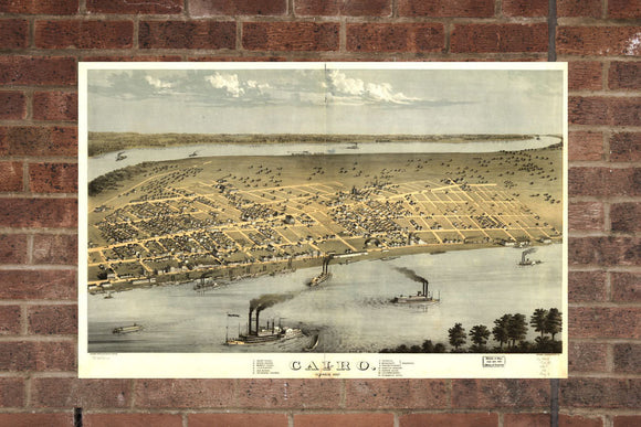 Vintage Cairo Print, Aerial Cairo Photo, Vintage Cairo IL Pic, Old Cairo Photo, Cairo Illinois Poster, 1867