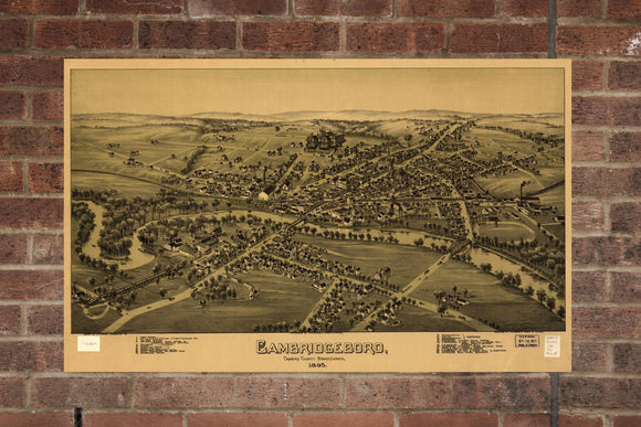 Vintage Cambridge Springs, Aerial Cambridge Springs, Vintage Cambridge Springs PA, Old Cambridge, Cambridge Springs Pennsylvania Poster