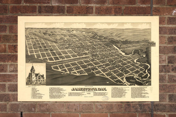 Vintage Jamestown Print, Aerial Jamestown Photo, Vintage Jamestown ND Pic, Old Jamestown Photo, Jamestown North Dakota Poster, 1883