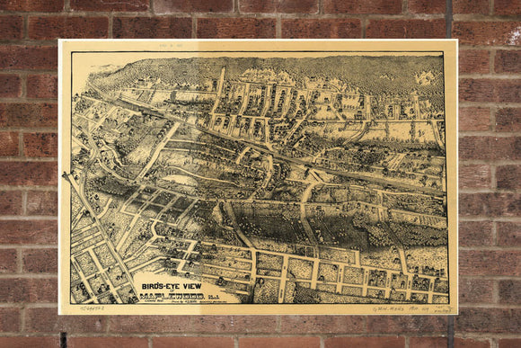 Vintage Maplewood Print, Aerial Maplewood Photo, Vintage Maplewood NJ Pic, Old Maplewood Photo, Maplewood New Jersey Poster, 1910