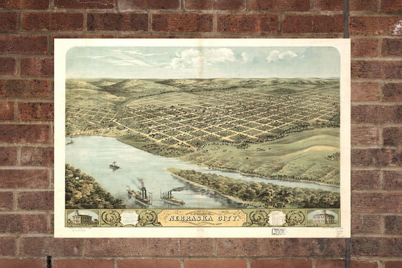 Vintage Nebraska City Print, Aerial Nebraska City Photo, Vintage Nebraska City NE Pic, Old Nebraska City Pic, Nebraska City Nebraska Poster