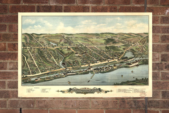 Vintage Windsor Locks , Aerial Windsor Locks Photo, Vintage Windsor Locks CT Pic, Old Windsor Locks Photo, Windsor Locks Connecticut, 1877