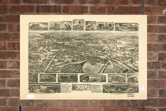 Vintage Dover Print, Aerial Dover Photo, Vintage Dover NJ Pic, Old Dover Photo, Dover New Jersey Poster, 1903