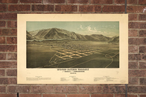 Vintage Hailey Print, Aerial Hailey Photo, Vintage Hailey ID Pic, Old Hailey Photo, Hailey Idaho Poster, 1884