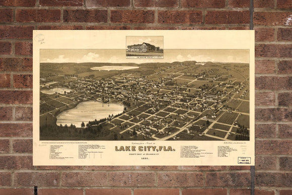 Vintage Lake City Print, Aerial Lake City Photo, Vintage Lake City FL Pic, Old Lake City Photo, Lake City Florida Poster, 1885