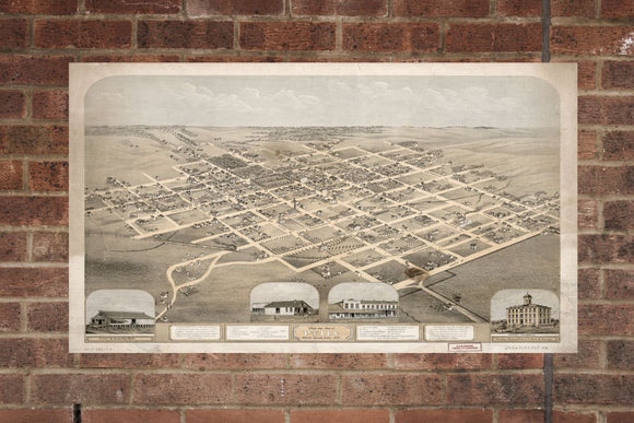 Vintage Pella Print, Aerial Pella Photo, Vintage Pella IA Pic, Old Pella Photo, Pella Iowa Poster, 1869
