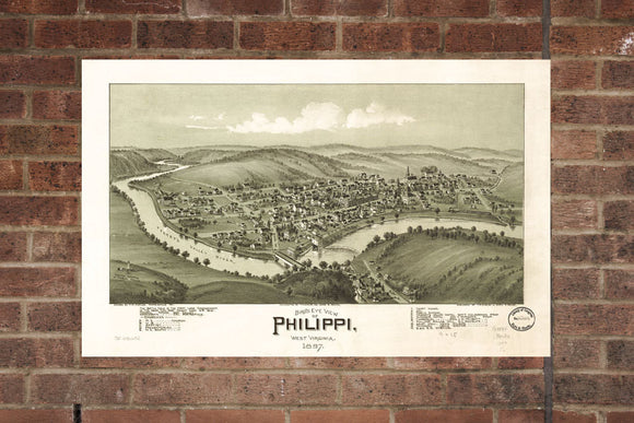 Vintage Philippi Print, Aerial Philippi Photo, Vintage Philippi WV Pic, Old Philippi Photo, Philippi West Virginia Poster, 1897