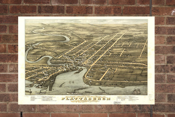 Vintage Plattsburgh Print, Aerial Plattsburgh Photo, Vintage Plattsburgh NY Pic, Old Plattsburgh Photo, Plattsburgh New York Poster, 1877