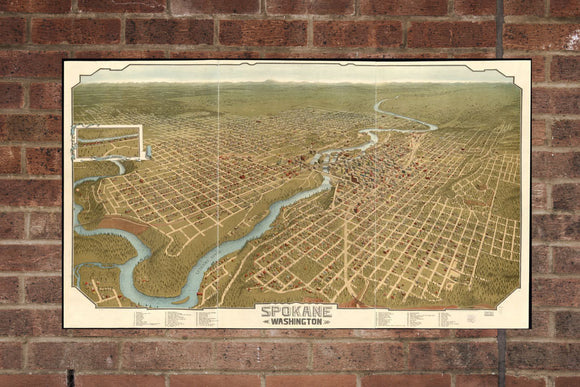 Vintage Spokane Print, Aerial Spokane Photo, Vintage Spokane WA Pic, Old Spokane Photo, Spokane Washington Poster, 1905