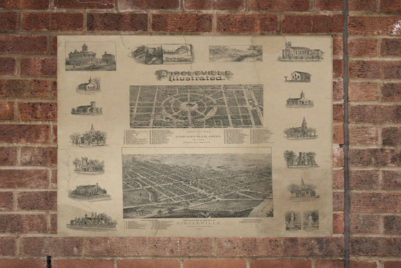 Vintage Circleville Print, Aerial Circleville Photo, Vintage Circleville OH Pic, Old Circleville Photo, Circleville Ohio Poster, 1878