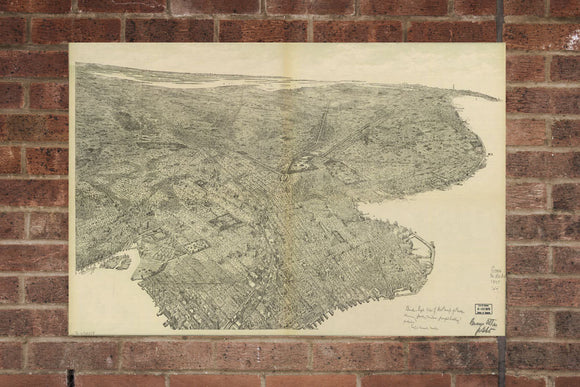 Vintage Brooklyn Print, Aerial Brooklyn Photo, Vintage Brooklyn OR Pic, Old Brooklyn Photo, Brooklyn New York Poster, 1897