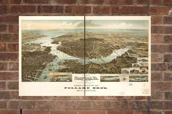 Vintage Norfolk Print, Aerial Norfolk Photo, Vintage Norfolk VA Pic, Old Norfolk Photo, Norfolk Virginia Poster, 1892