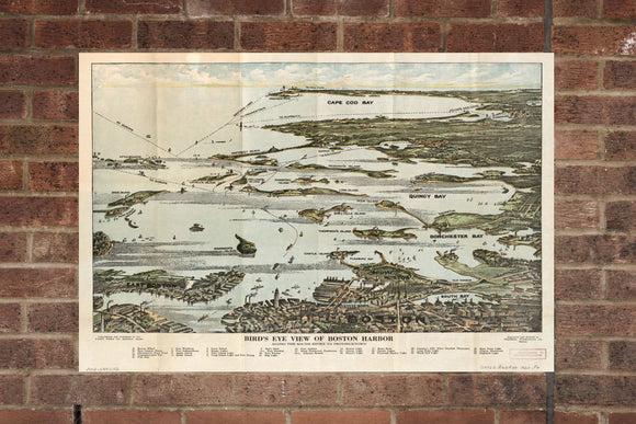 Vintage Boston Harbor Print, Aerial Boston Harbor, Vintage Boston Harbor MA Pic, Old Boston Harbor Pic, Boston Harbor Massachusetts Poster