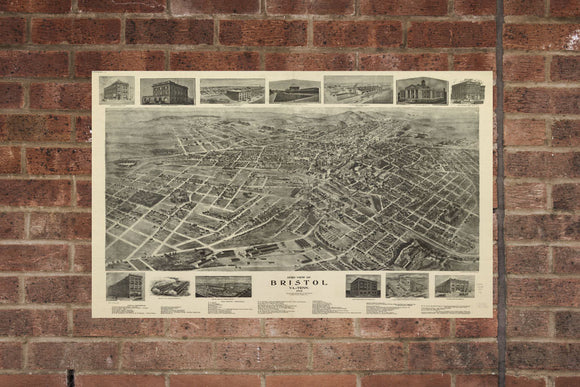 Vintage Bristol Print, Aerial Bristol Photo, Vintage Bristol VA Pic, Old Bristol Photo, Bristol Virginia Poster, 1912