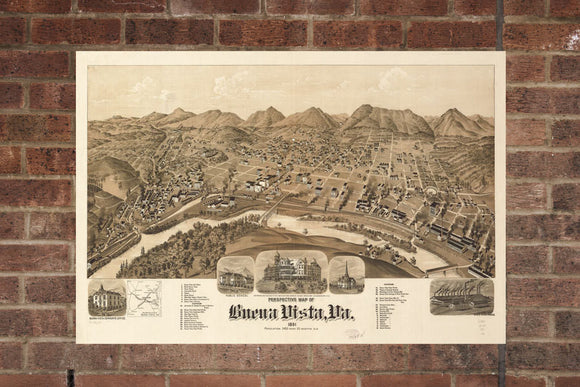 Vintage Buena Vista Print, Aerial Buena Vista Photo, Vintage Buena Vista VA Pic, Old Buena Vista Photo, Buena Vista Virginia Poster, 1891