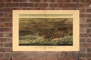 Vintage Chicago Print, Aerial Chicago Photo, Vintage Chicago IL Pic, Old Chicago Photo, Chicago Illinois Poster, 1892