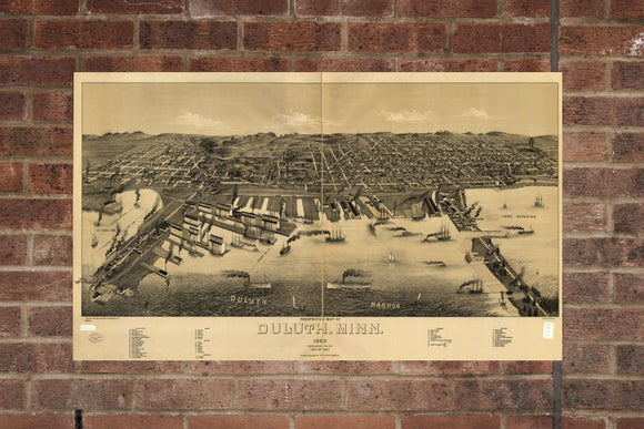 Vintage Duluth Print, Aerial Duluth Photo, Vintage Duluth MN Pic, Old Duluth Photo, Duluth Minnesota Poster, 1887