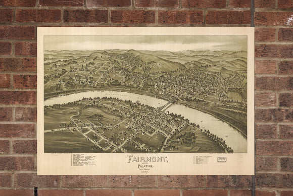 Vintage Fairmont Print, Aerial Fairmont Photo, Vintage Fairmont WV Pic, Old Fairmont Photo, Fairmont West Virginia Poster, 1897
