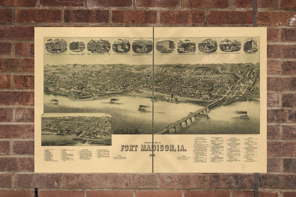 Vintage Fort Madison Print, Aerial Fort Madison Photo, Vintage Fort Madison IA Pic, Old Fort Madison Photo, Fort Madison Lowa Poster, 1889