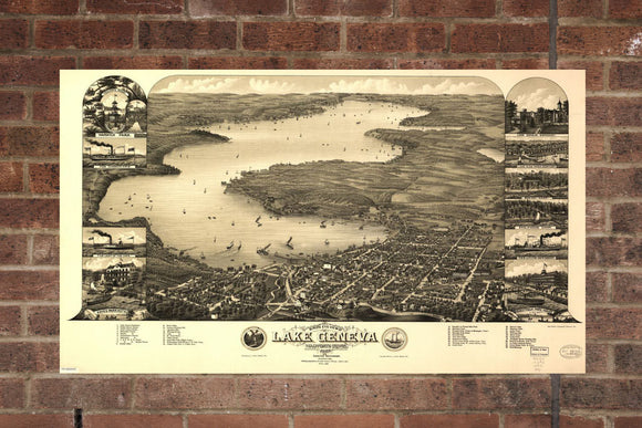 Vintage Lake Geneva Print, Aerial Lake Geneva Photo, Vintage Lake Geneva WI Pic, Old Lake Geneva Photo, Lake Geneva Wisconsin Poster, 1882