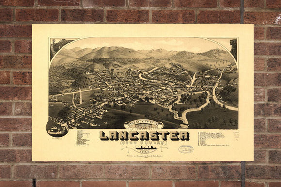 Vintage Lancaster Print, Aerial Lancaster Photo, Vintage Lancaster NH Pic, Old Lancaster Photo, Lancaster New Hampshire Poster, 1883