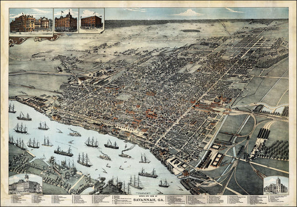 Savannah GA Vintage Print Poster 1872 Birds Eye View