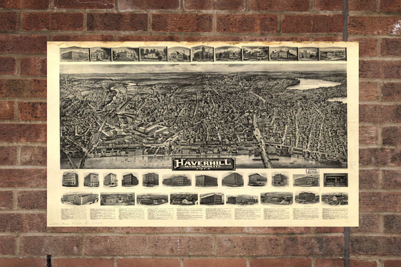 Vintage Haverhill Print, Aerial Haverhill Photo, Vintage Haverhill MA Pic, Old Haverhill Photo, Haverhill Massachusetts Poster, 1914