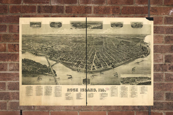 Vintage Rock Island Print, Aerial Rock Island Photo, Vintage Rock Island IL Pic, Old Rock Island Photo, Rock Island Illinois Poster, 1889