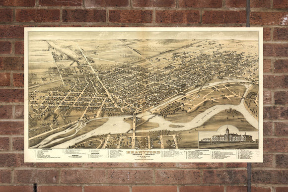 Vintage Brantford Print, Aerial Brantford Photo, Vintage Brantford ON Pic, Old Brantford Photo, Brantford Ontario Poster, 1875