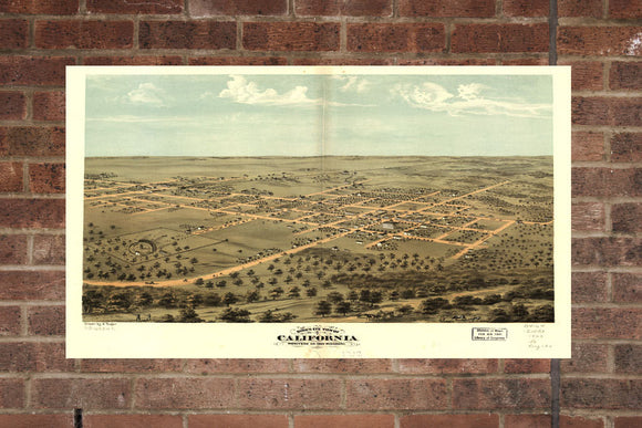 Vintage California Print, Aerial California Photo, Vintage California MO Pic, Old California Photo, California Missouri Poster, 1869