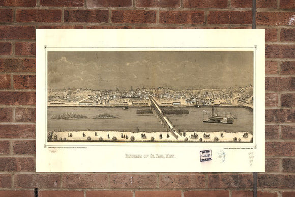 Vintage Saint Paul Print, Aerial Saint Paul Photo, Vintage Saint Paul MN Pic, Old Saint Paul Photo, Saint Paul Minnesota Poster, 1873