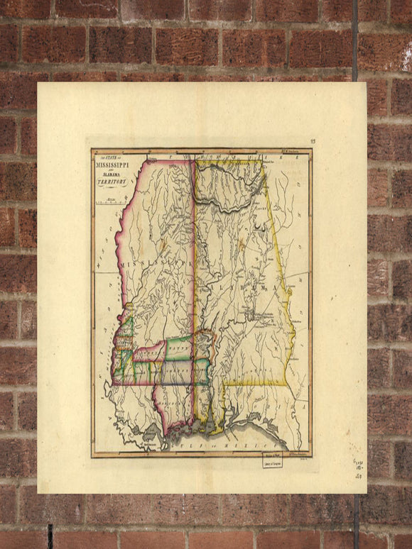 Vintage Alabama Print, Aerial Alabama Photo, Vintage AL Pic, Old Alabama Photo, Alabama Poster, 1817