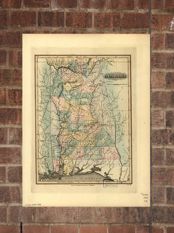 Vintage Alabama Print, Aerial Alabama Photo, Vintage AL Pic, Old Alabama Photo, Alabama Poster, 1826