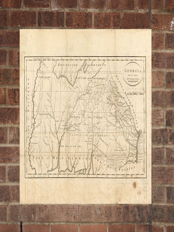 Vintage Georgia Print, Aerial Georgia Photo, Vintage GA Pic, Old Georgia Photo, Georgia Poster, 1795