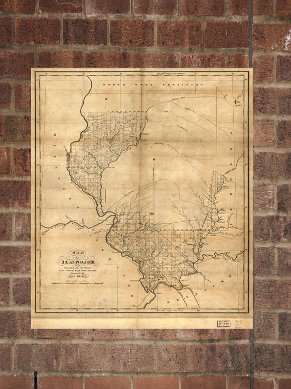 Vintage Illinois Print, Aerial Illinois Photo, Vintage IL Pic, Old Illinois Photo, Illinois Poster, 1818