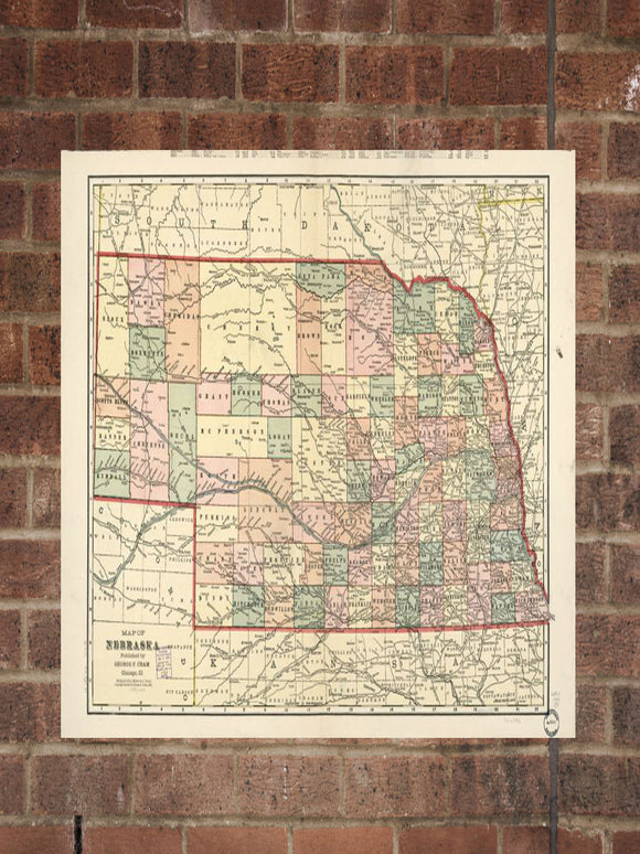Vintage Nebraska Print, Aerial Nebraska Photo, Vintage NE Pic, Old Nebraska Photo, Nebraska Poster, 1902