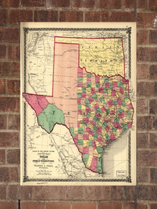Vintage Texas Print, Aerial Texas Photo, Vintage TX Pic, Old Texas Photo, Texas Poster, 1875