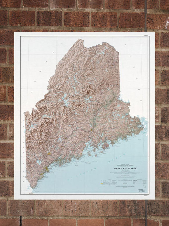Vintage Maine Print, Aerial Maine Photo, Vintage ME Pic, Old Maine Photo, Maine Poster, 1977