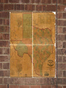Vintage Texas Print, Aerial Texas Photo, Vintage TX Pic, Old Texas Photo, Texas Poster, 1857