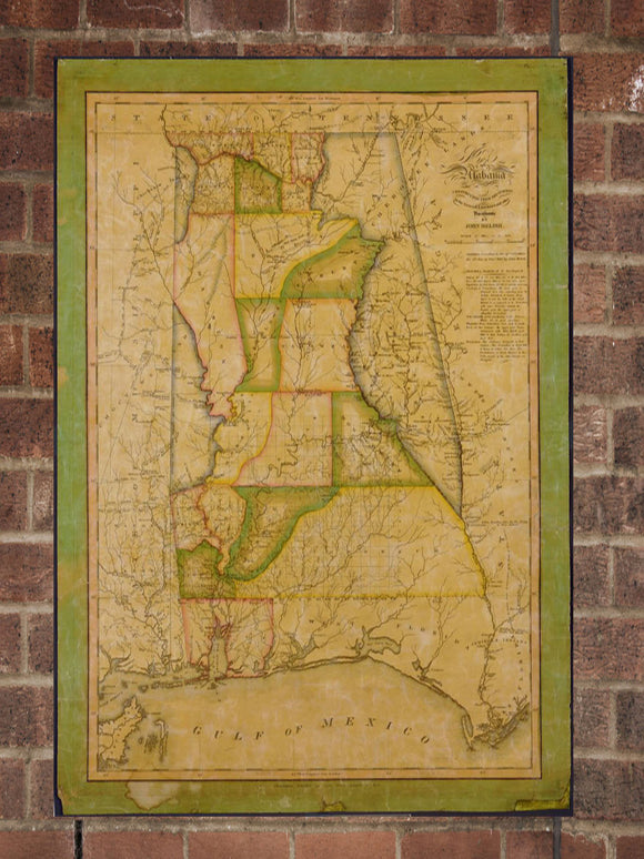 Vintage Alabama Print, Aerial Alabama Photo, Vintage AL Pic, Old Alabama Photo, Alabama Poster, 1820