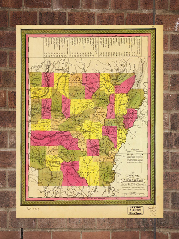 Vintage Arkansas Print, Aerial Arkansas Photo, Vintage AR Pic, Old Arkansas Photo, Arkansas Poster, 1847