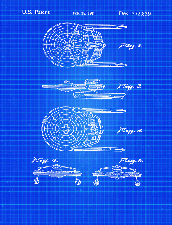 USS Reliant Miranda Class Starship Star Trek Blueprint Patent Wall Art Poster
